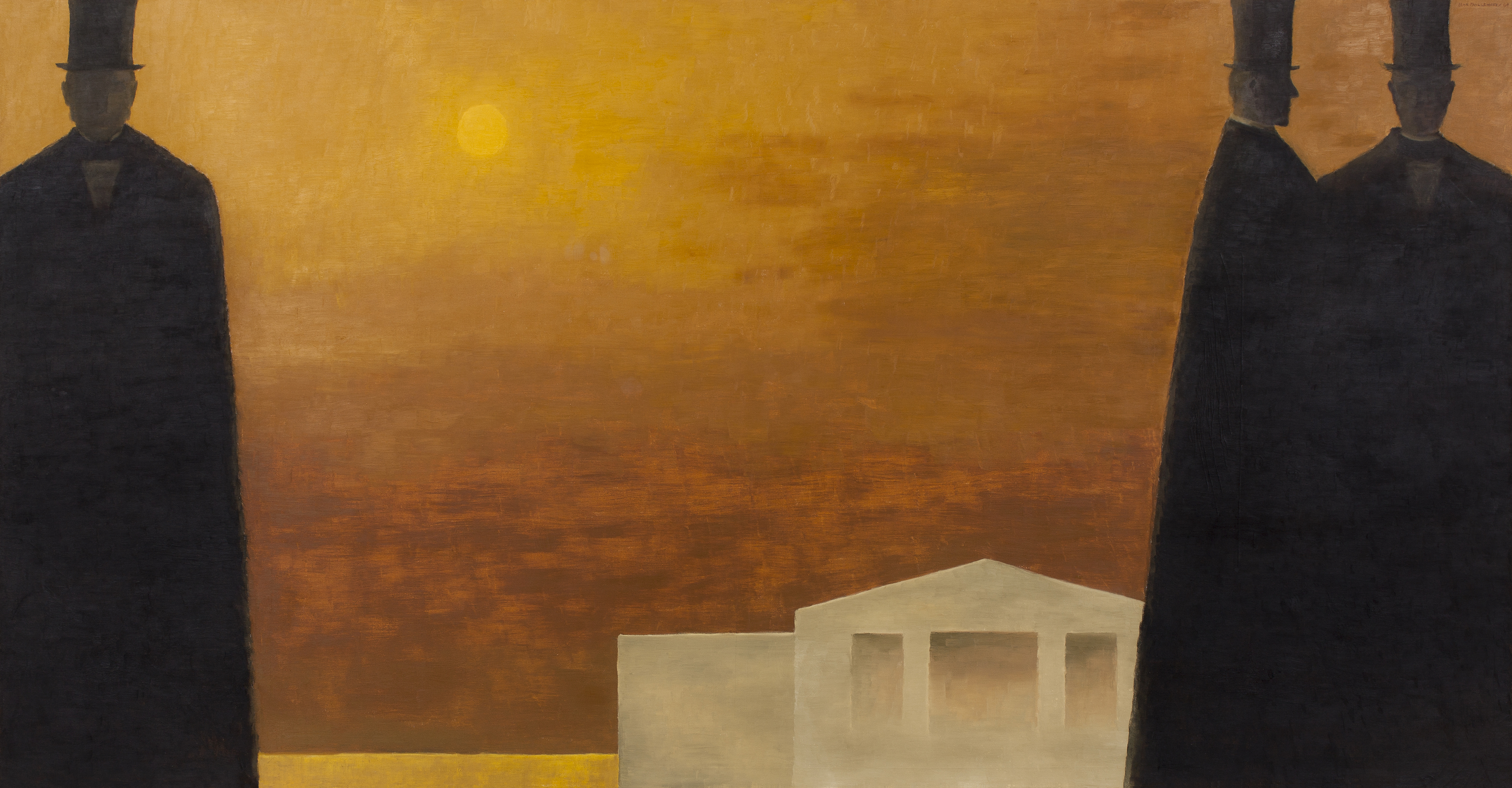The black silhouettes of three men occupy the foreground of a large horizontal composition. A white building and an orangey sky are in the background. One figure stands at the left while the other two are at the right, leaving the centre empty.