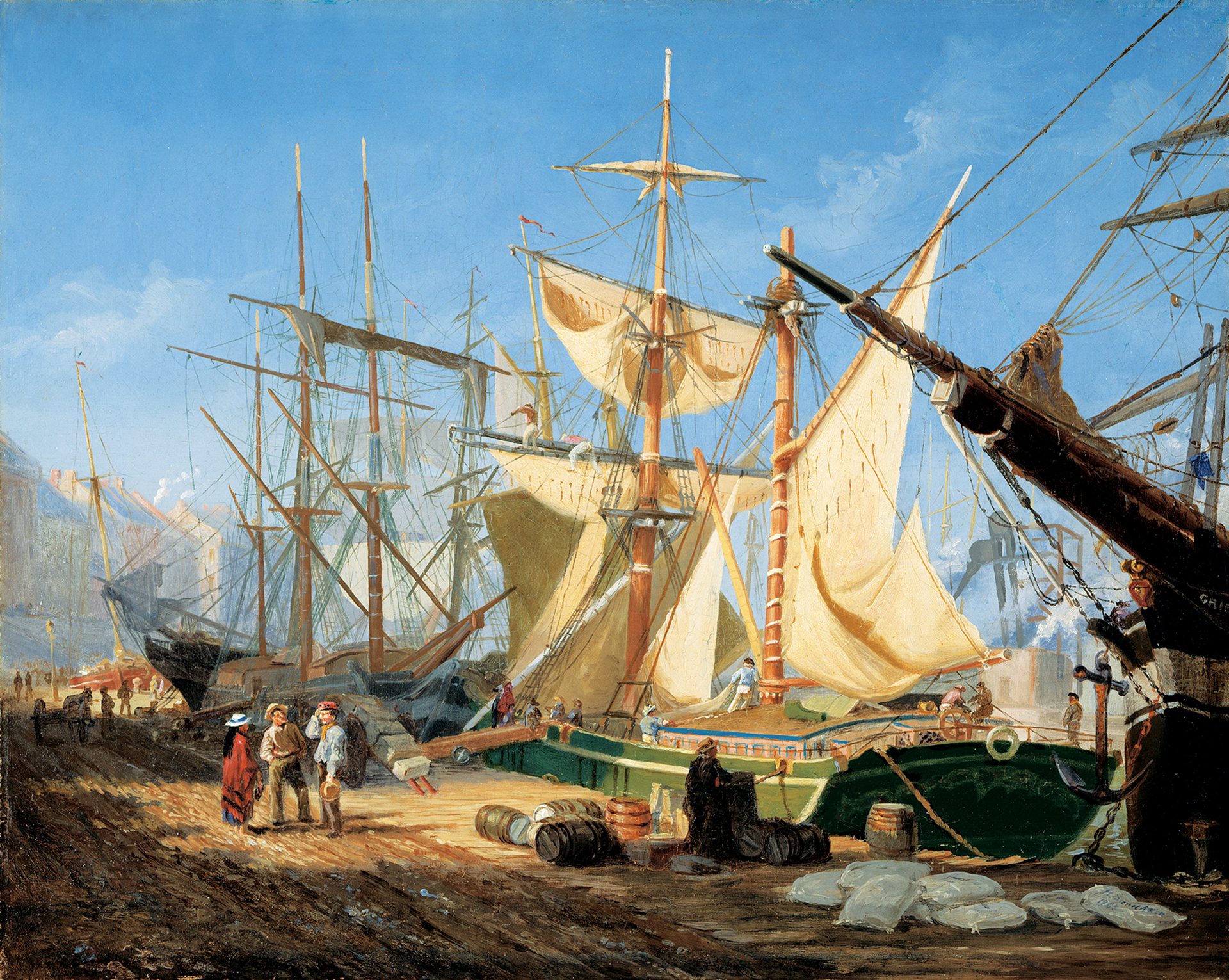 This painting shows three anchored ships profiled against a blue sky. Several figures are at work on the ship in the foreground, while two men and a woman converse on the wharf.