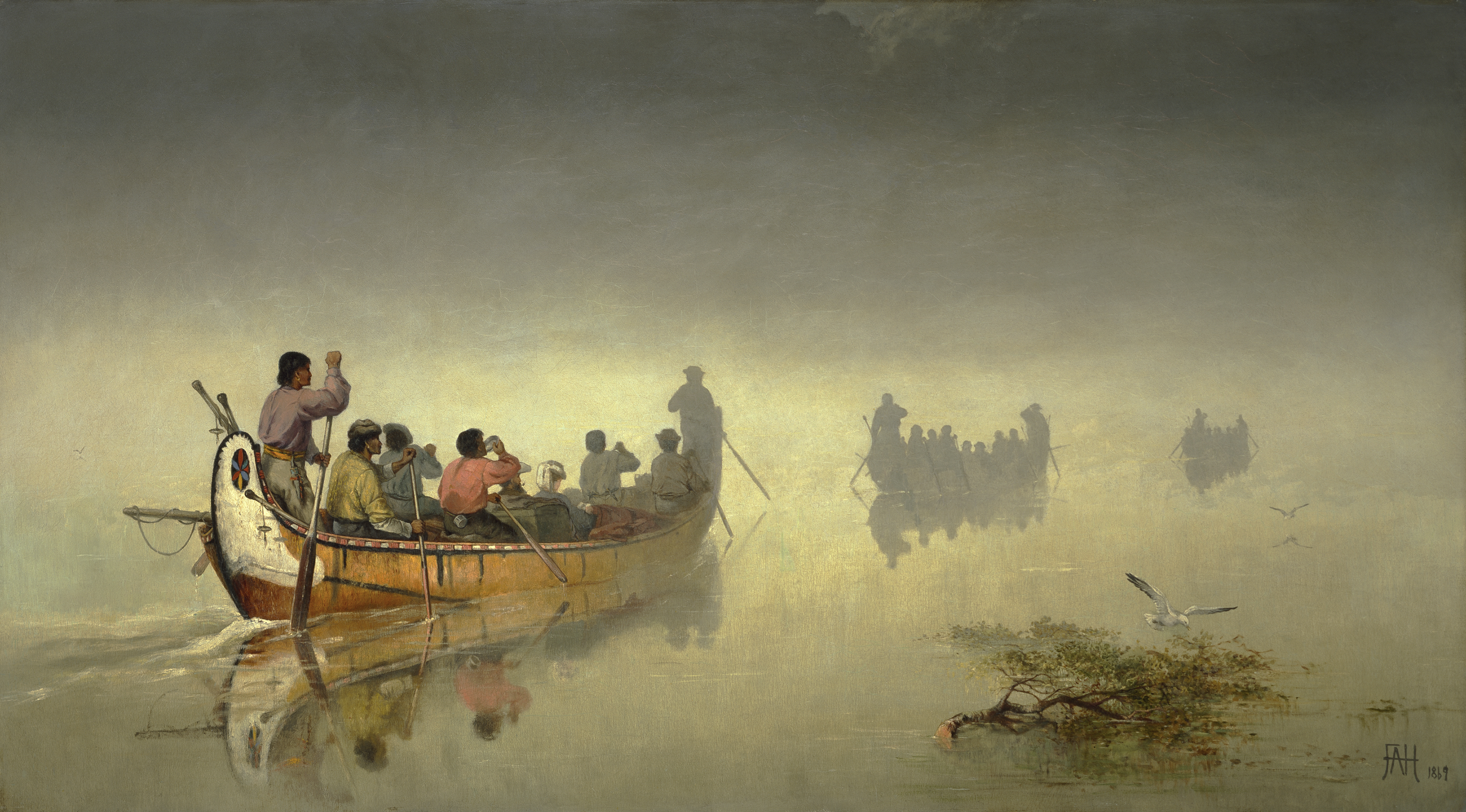 This work shows three canoes gliding across a lake toward the horizon in a diagonal that stretches from the left foreground to the right background. Shrouded in a haze of mist, the farthest two canoes cast indistinct shadows.