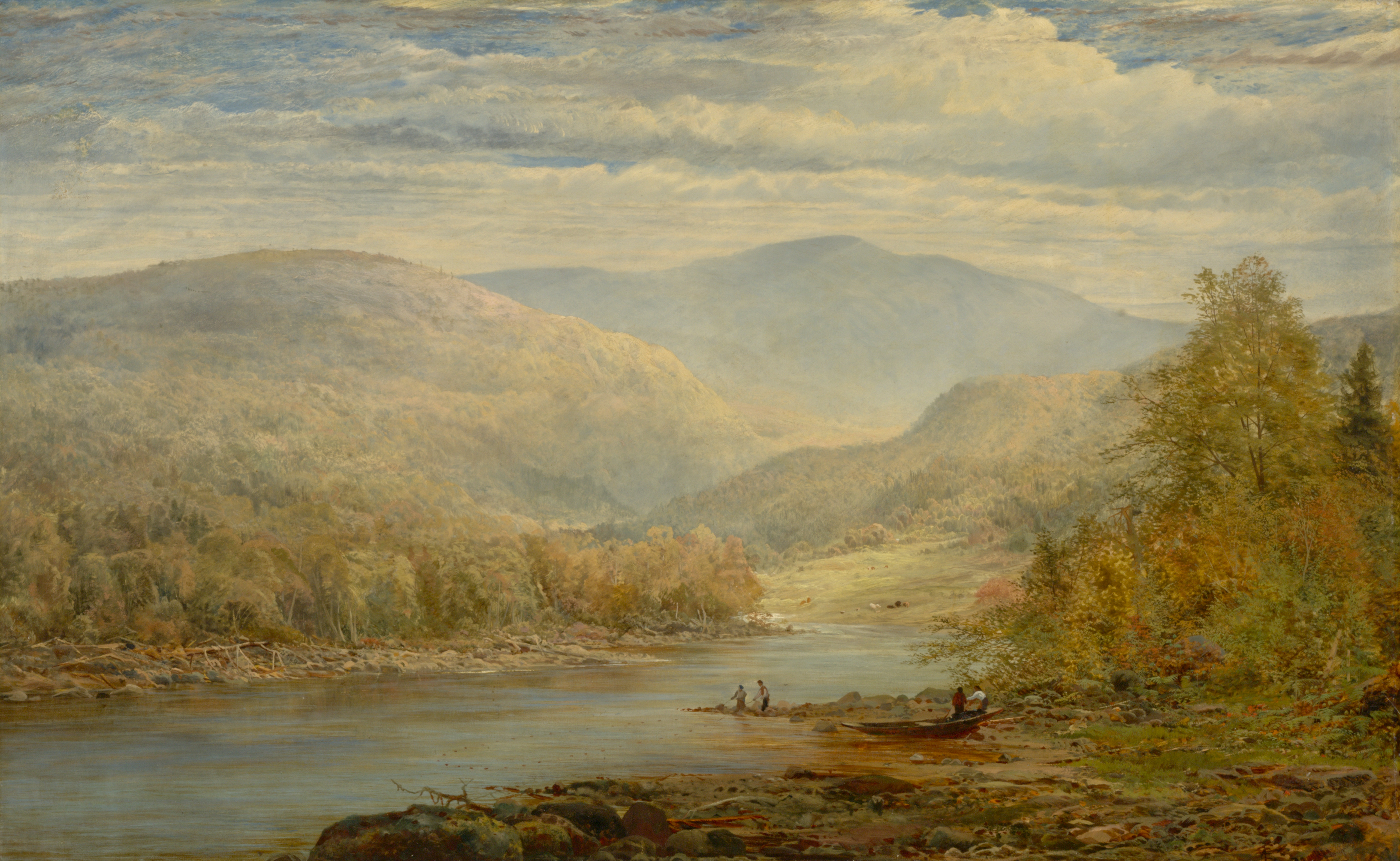 In the foreground, a peaceful river is bordered by trees in autumn colours. Four figures in groups of two appear on the right bank. In the background, mountains with rounded peaks fill the horizon beneath a cloudy sky.
