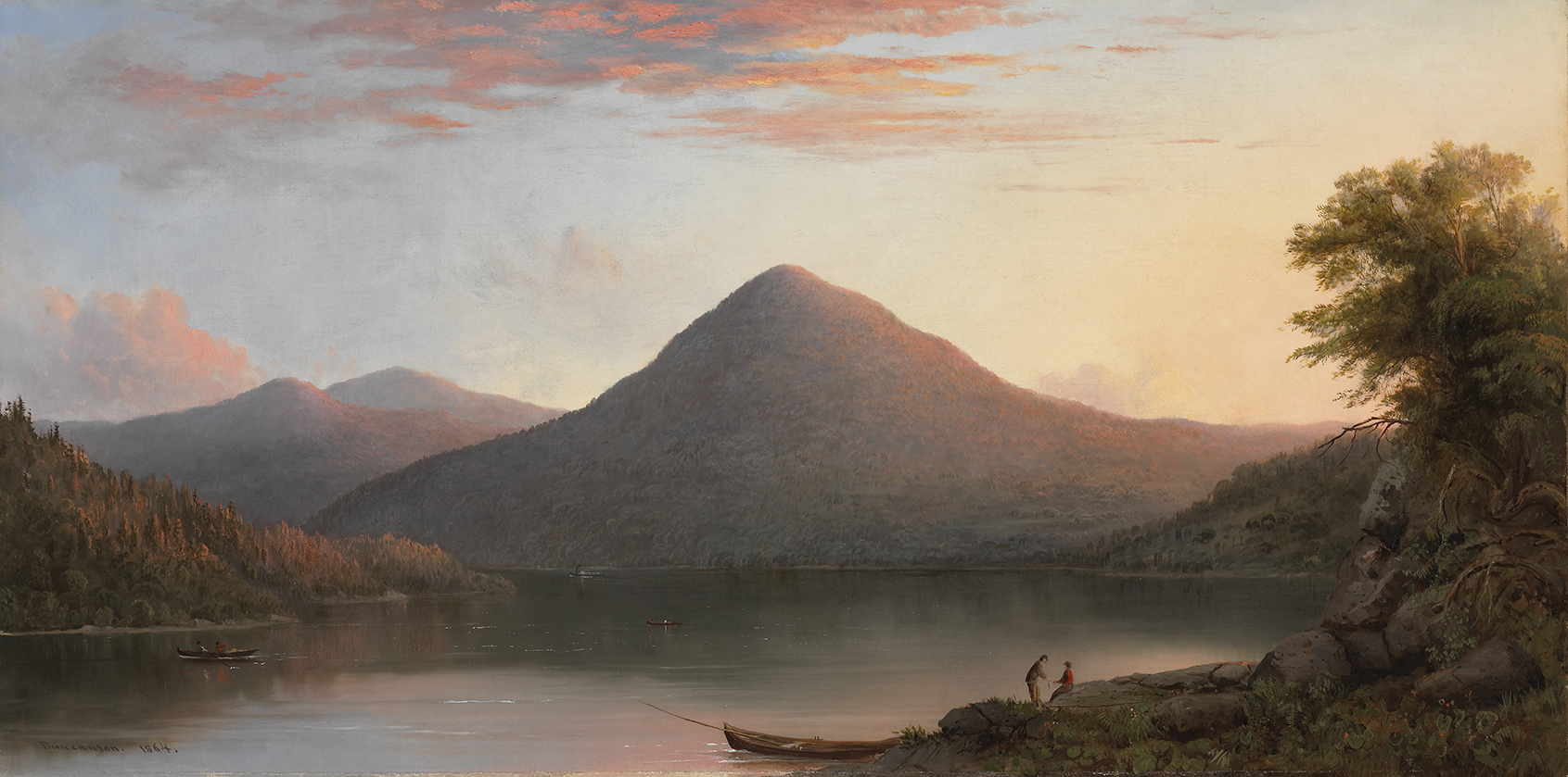 At the centre of the landscape is a mountain, its right slope illuminated by a golden light. The sky bathed in morning radiance is reflected in the lake in the foreground. A canoe is drawn up to the right bank, near two figures.