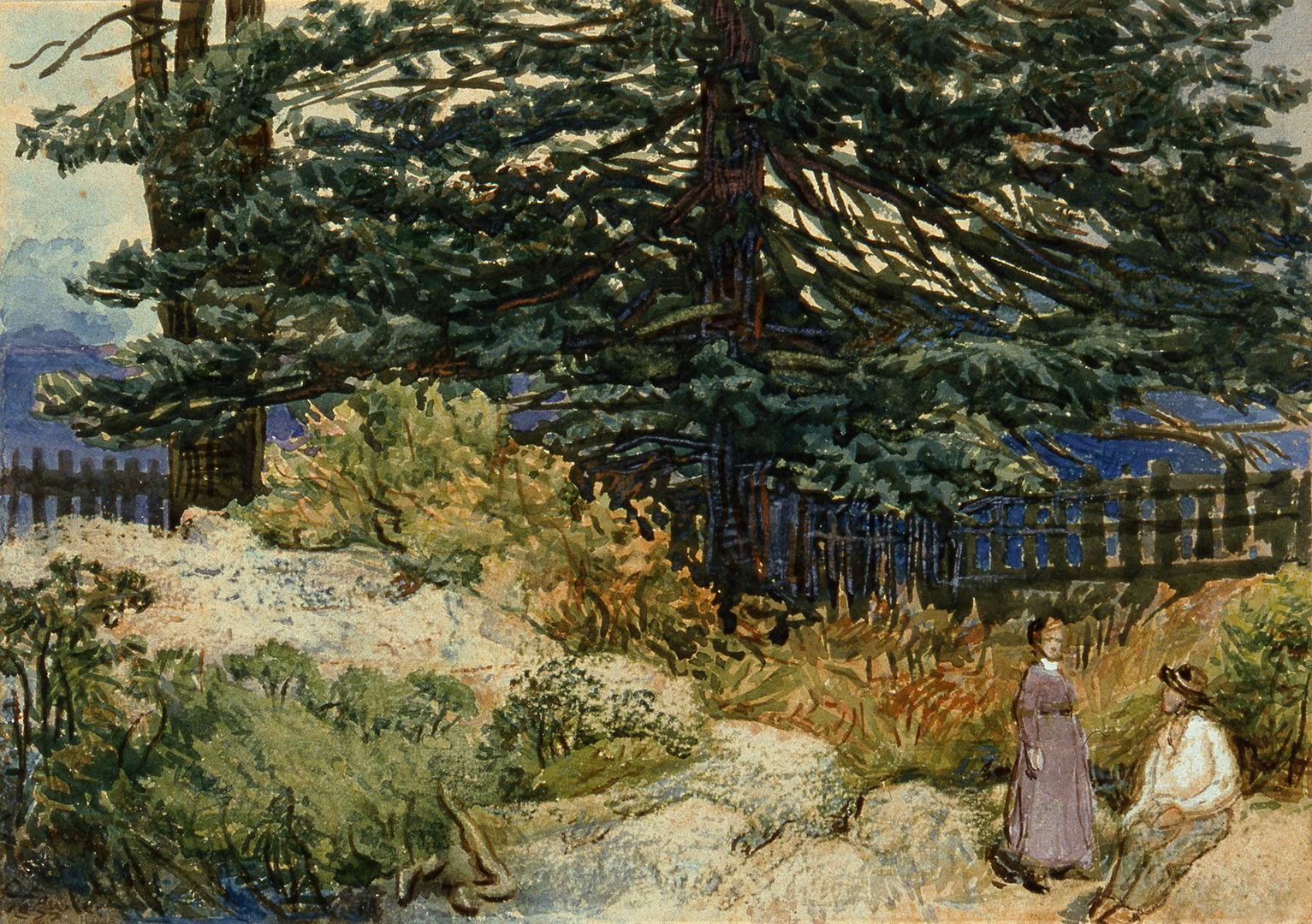 The central element of this landscape is a broad-branched evergreen that occupies the upper half of the painting. In front of the tree is a mound of white rocks surrounded by bushes. A woman and a man are sketchily rendered in the lower right corner.