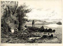 This black-and-white print shows a shore where a canoe is drawn up. Behind the canoe, a man stands looking into the distance. At the left, his companion crouches near a fire, smoking a pipe. Beyond him is a forest.