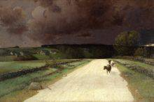 Bordered by green pastures, a sand-coloured road stretches toward a black hill rising on the horizon. Three cows trudge along under a sky darkened by a looming storm.