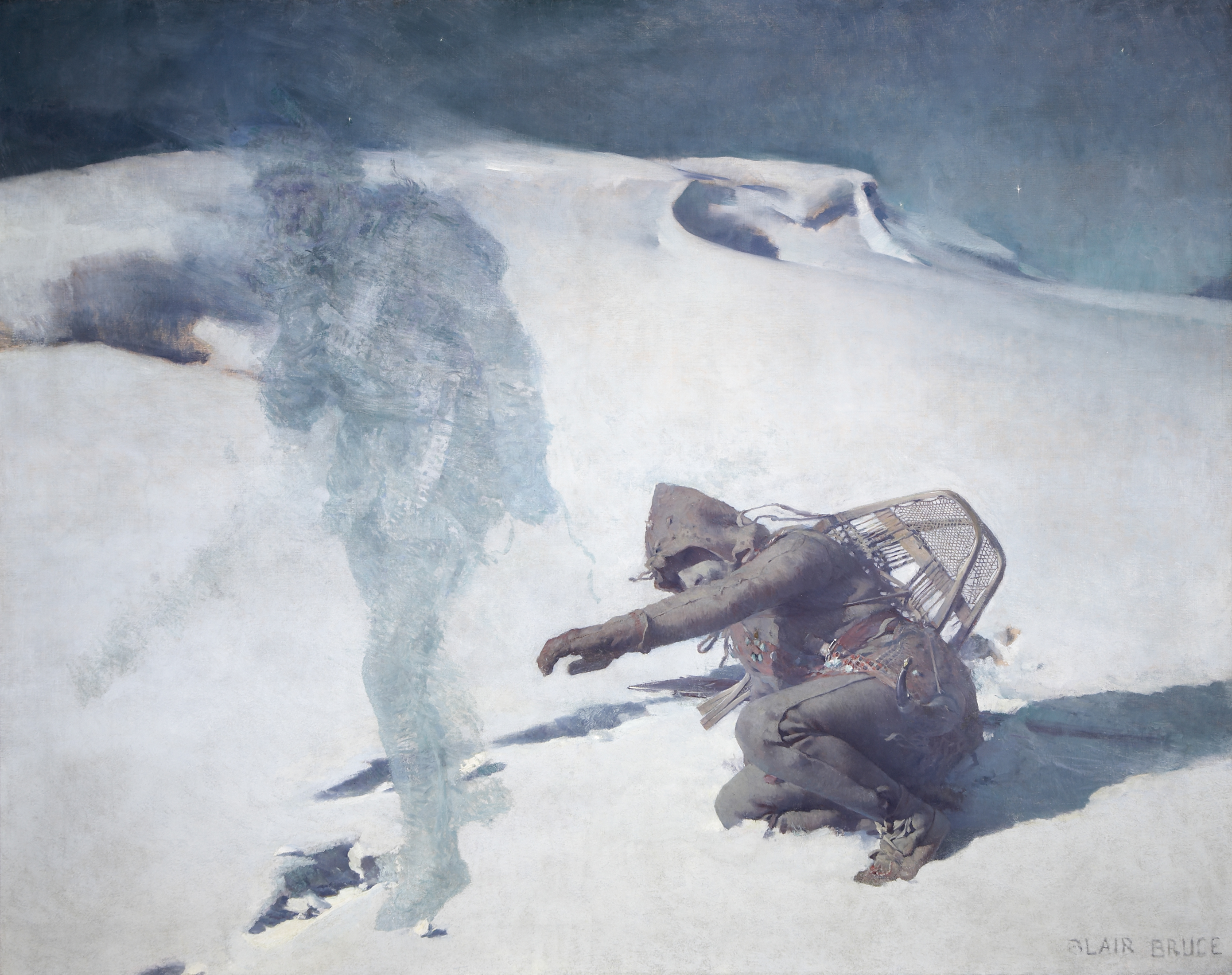 A man cowers on a snow-covered plain with his left arm outstretched in a protective or pleading gesture. At the left, a hazy figure walks toward the edge of the frame, ignoring the prostrate man.