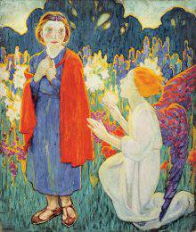 Two figures appear in the foreground. On the left, a woman in a blue dress and red cape gazes down at a white-robed angel kneeling at her feet. A field of colourful flowers spreads across the background.
