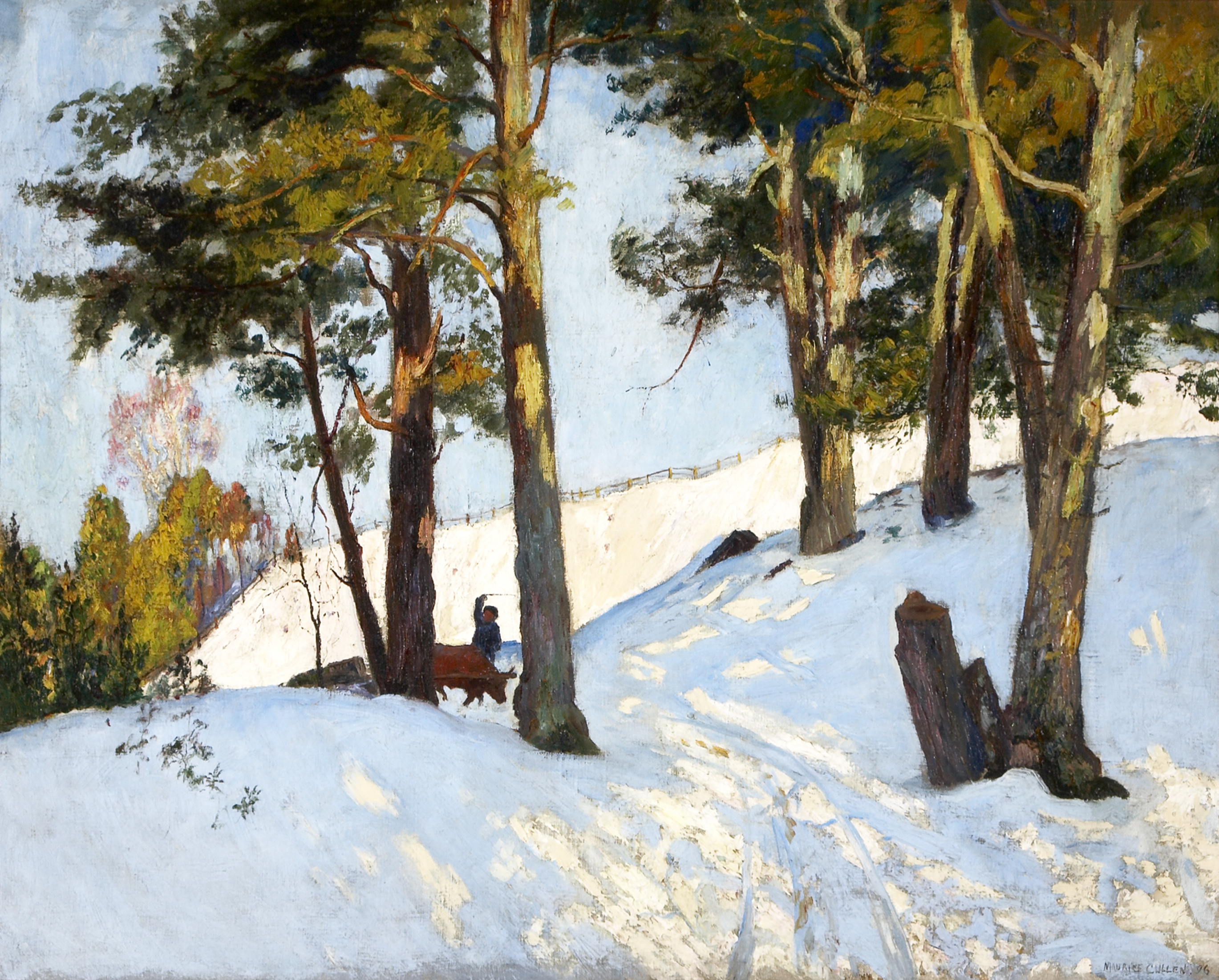 Tall trees rise in a winter landscape. The light mottles the snow with bluish and yellowish highlights. Seen from a distance, a man with a whip is urging on a draft animal pulling a load of logs.