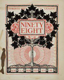 "This calendar cover depicts a maple tree with black leaves that occupy the upper half of the image. The title ""Ninety Eight,"" framed by red plant motifs, stands out against the foliage. In the lower half, a sun and its rays fill the background."