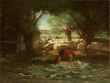 The subject of this rural scene is a shepherd working in a stretch of choppy water in the foreground. The trees on either side cloak his activity in heavy shadow. The middle ground is occupied by a flock of sheep and two men.
