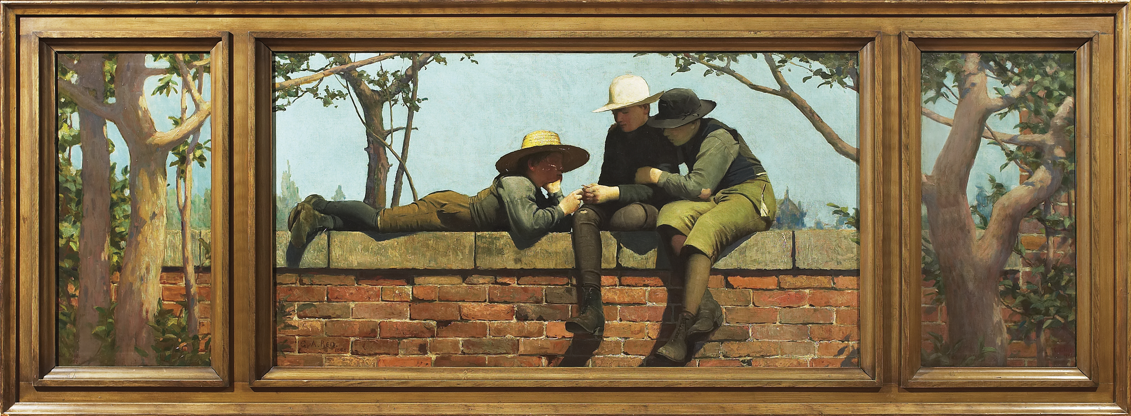 This work is divided into three parts. The centre panel pictures three boys on a low wall, two sitting and one lying down. Two smaller side panels show trees whose branches stretch into the centre panel.