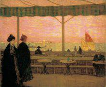 At the left of the painting, two women are strolling along the waterfront in Venice. They are next to an awning-covered terrace, beyond which a sailboat and a gondola are visible on the lagoon.