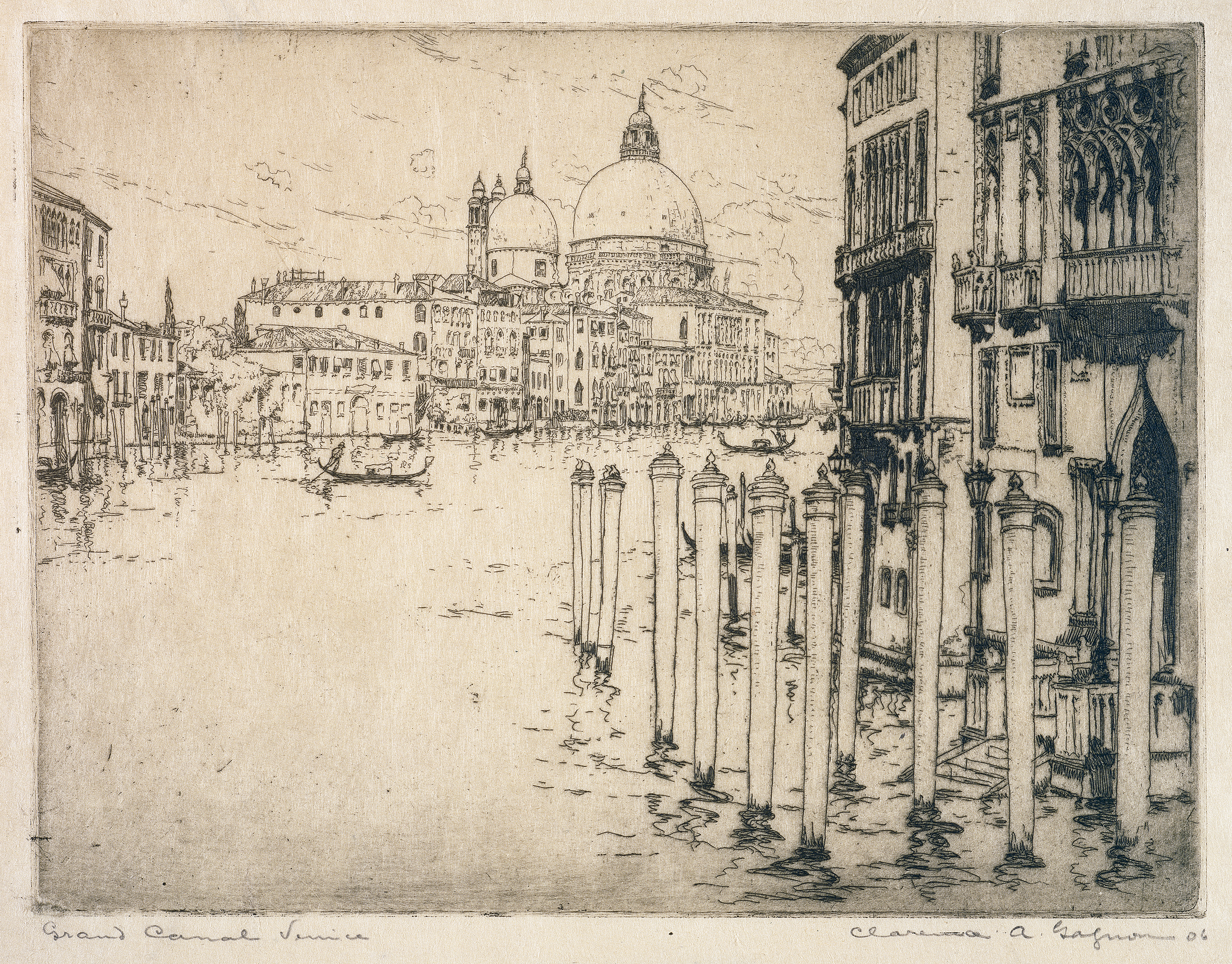 This black-and-white etching presents a view of the Grand Canal in Venice bordered by Gothic, classical and Baroque architecture. In the distance, a gondola glides along the water.