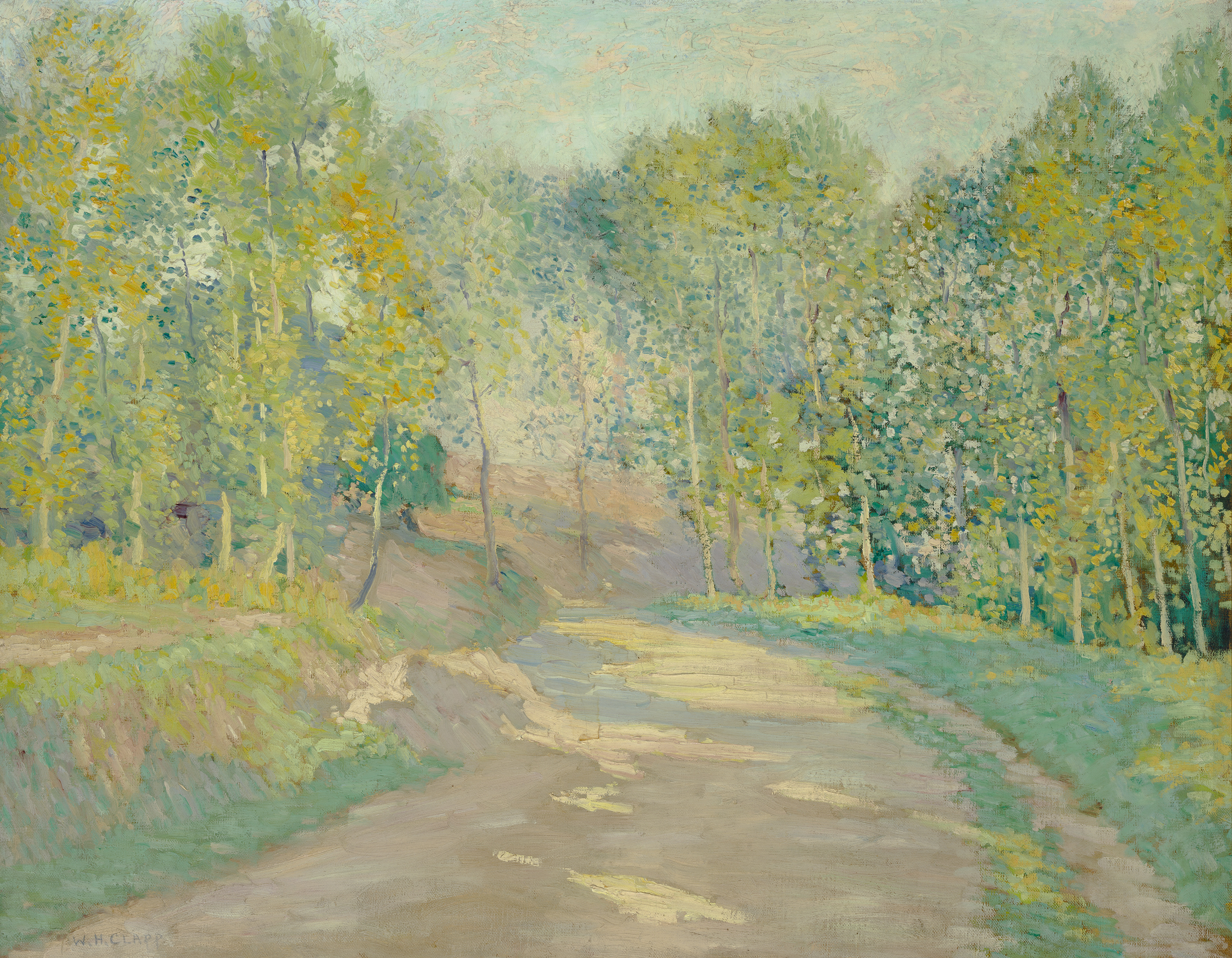 This oil on canvas presents a spring landscape under a light blue sky. The centre of the picture is occupied by a dirt road lined with green- and yellow-leaved trees whose sinuous shadows streak the path.