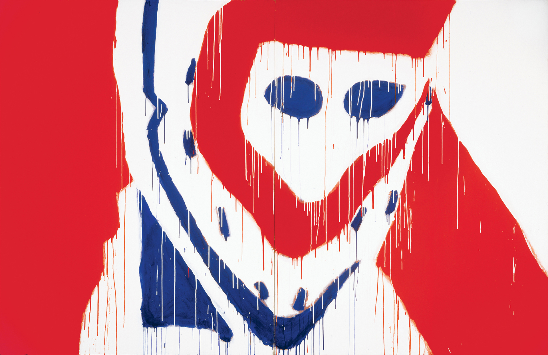 his close-up representation of a hockey mask is composed of large areas of flat white, red and blue. Drips of paint create rhythm on the surface of the canvas.