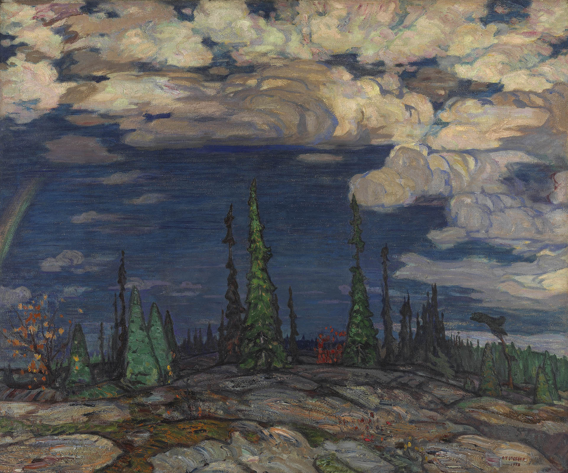 This painting shows a landscape with rocky ground. At the centre of the composition, tall green pines soar against a deep blue sky scattered with white clouds.