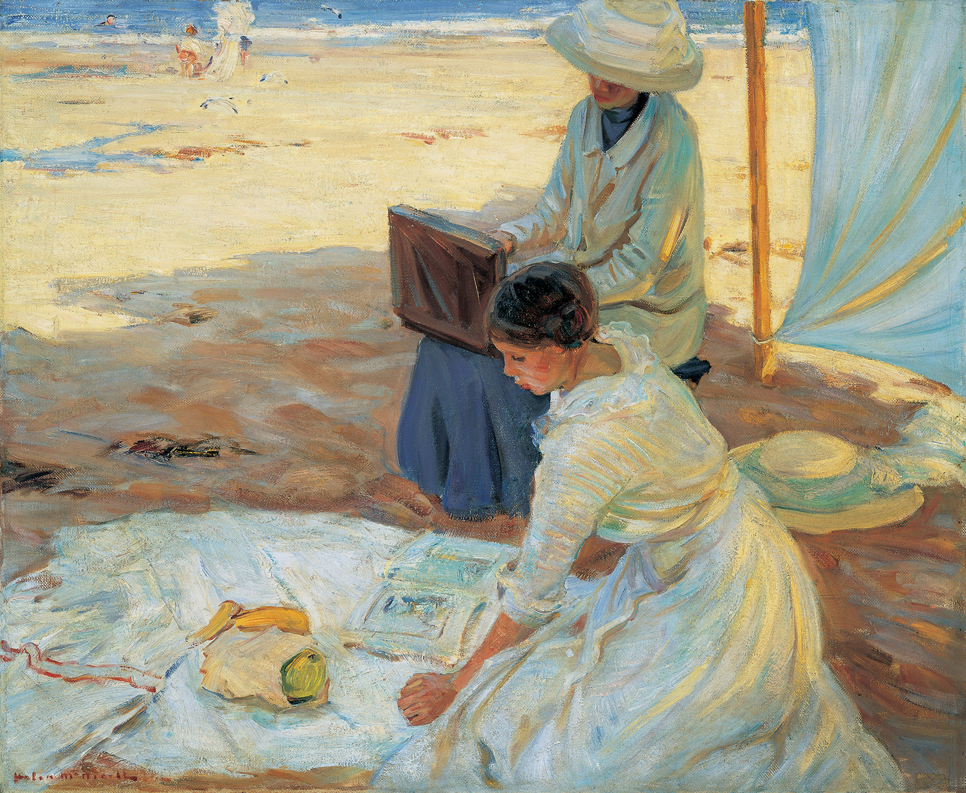 In this seaside scene, two women dressed in white and blue sit in the shade of a tent. In the background, a beach dotted with a few figures and birds stretches to a sliver of ocean.