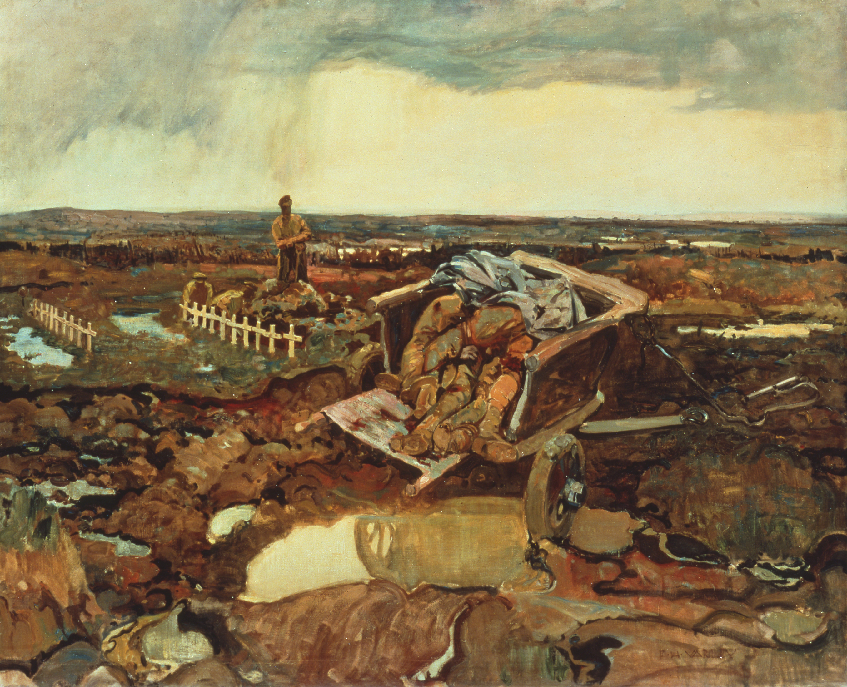 A cart mired in mud occupies the centre of this painting. It is piled with corpses. Farther back, a man leaning on a shovel stands near a row of white crosses.