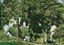 Four great elms with luxuriant foliage fill nearly the entire surface of this painting. At the foot of the trees are two small traditional green-roofed white houses. A white horse is pulling a hay wagon toward them.
