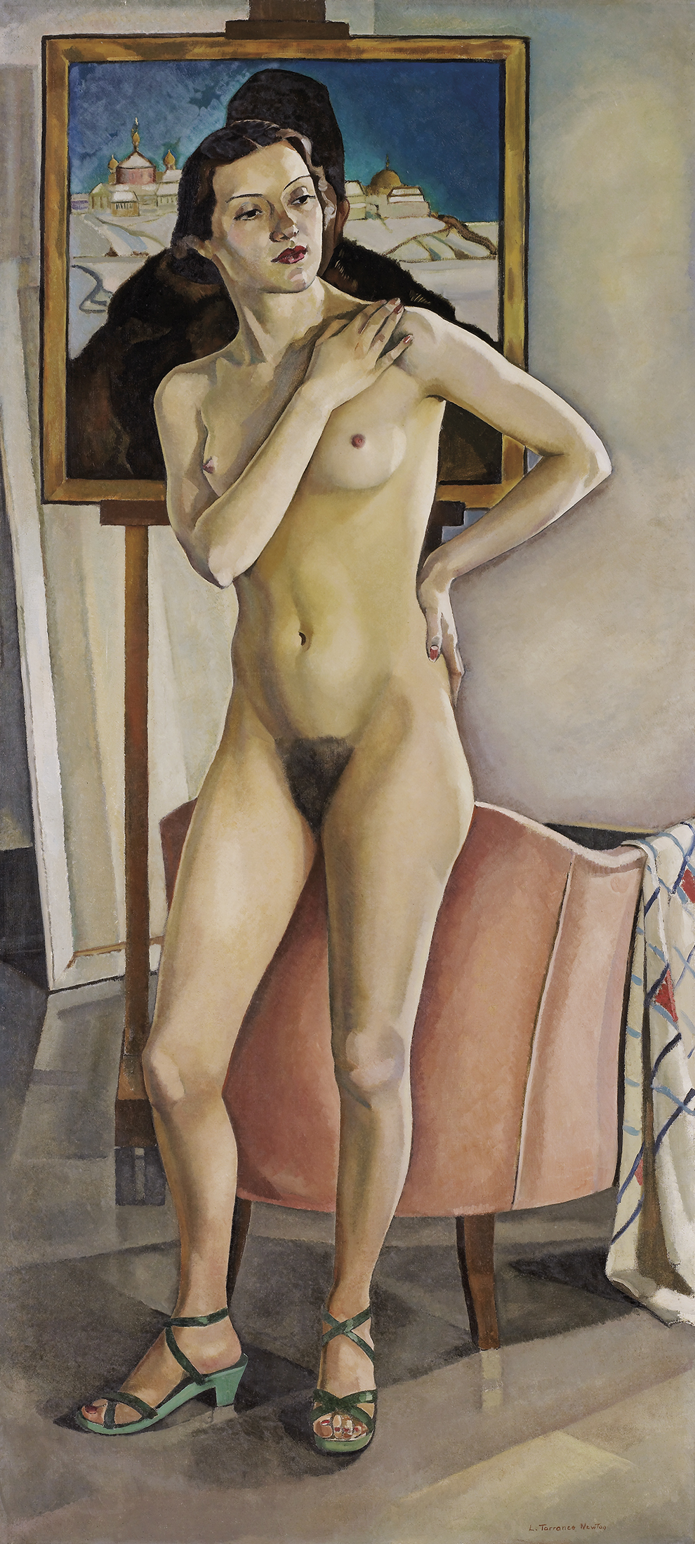This larger-than-life-size portrait represents a nude woman in a standing pose with hips slightly tilted. The model is wearing makeup and green sandals. Her head and bust mask a portrait set on an easel behind her.