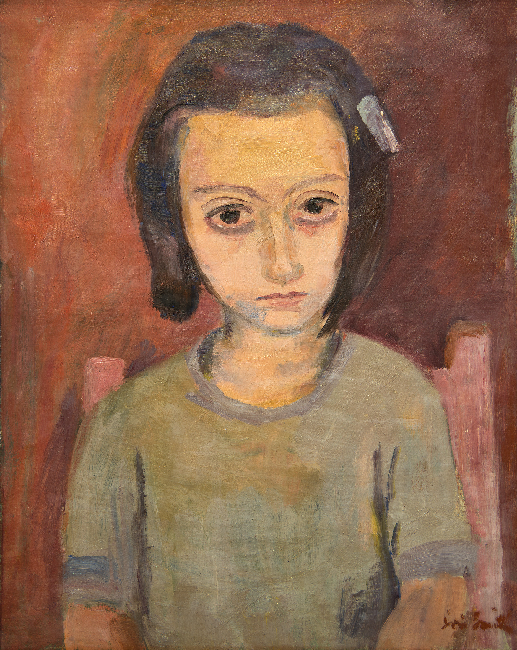 A sad-eyed little girl is seated on a chair, facing forward. Except for the dark brown of the child's bobbed hair and large eyes, the painting is almost monochromatic, in tones of blue, pink and mauve.
