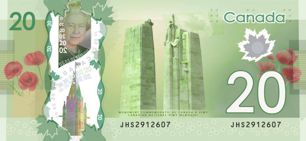 This greenish banknote shows the two pillars of the Canadian National Vimy Memorial at the centre. A portrait of Queen Elizabeth II appears in the upper left area. Clusters of red poppies on both sides symbolize remembrance.