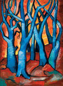 A cluster of electric blue trees stands on rough red ground. An orangey sky is visible through the intertwined branches that occupy nearly the entire picture.