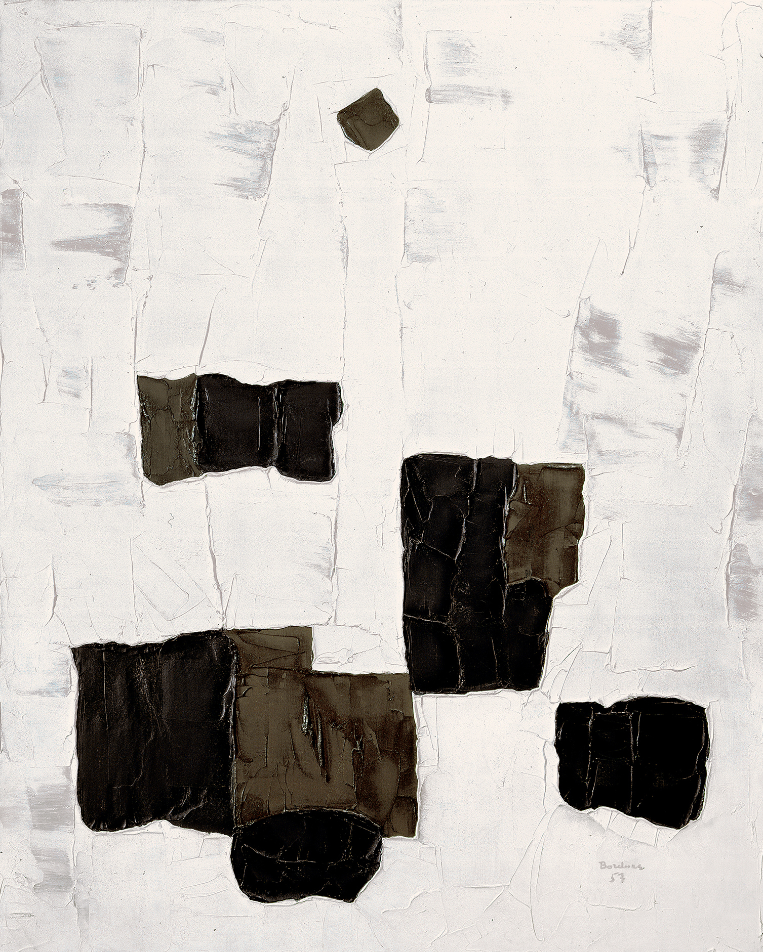 This non-figurative painting features areas of flat black, brown and white. The dark masses concentrated in the lower portion stand out from the textured white surface. A small black patch appears near the top.