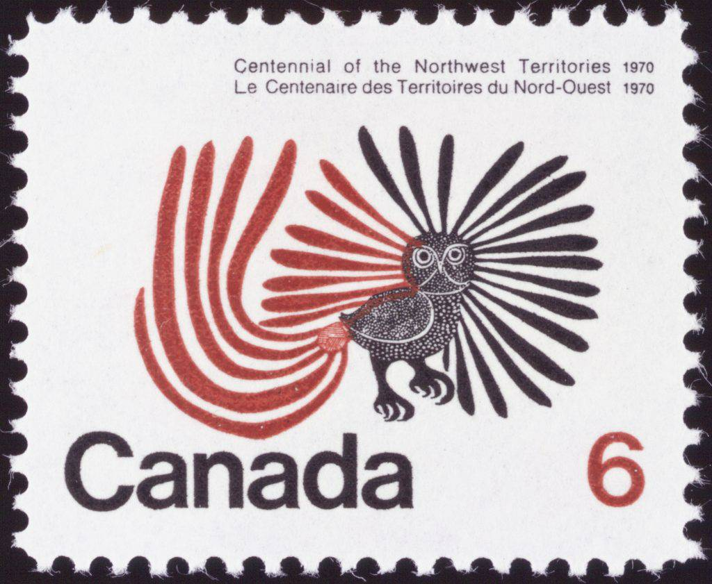 "The figure of an owl with fanned plumage appears on a cancelled stamp. Above the owl is written ""Centennial of the Northwest Territories"" with the date, 1970. Below the image are the word ""Canada"" and the figure ""6."" 96"