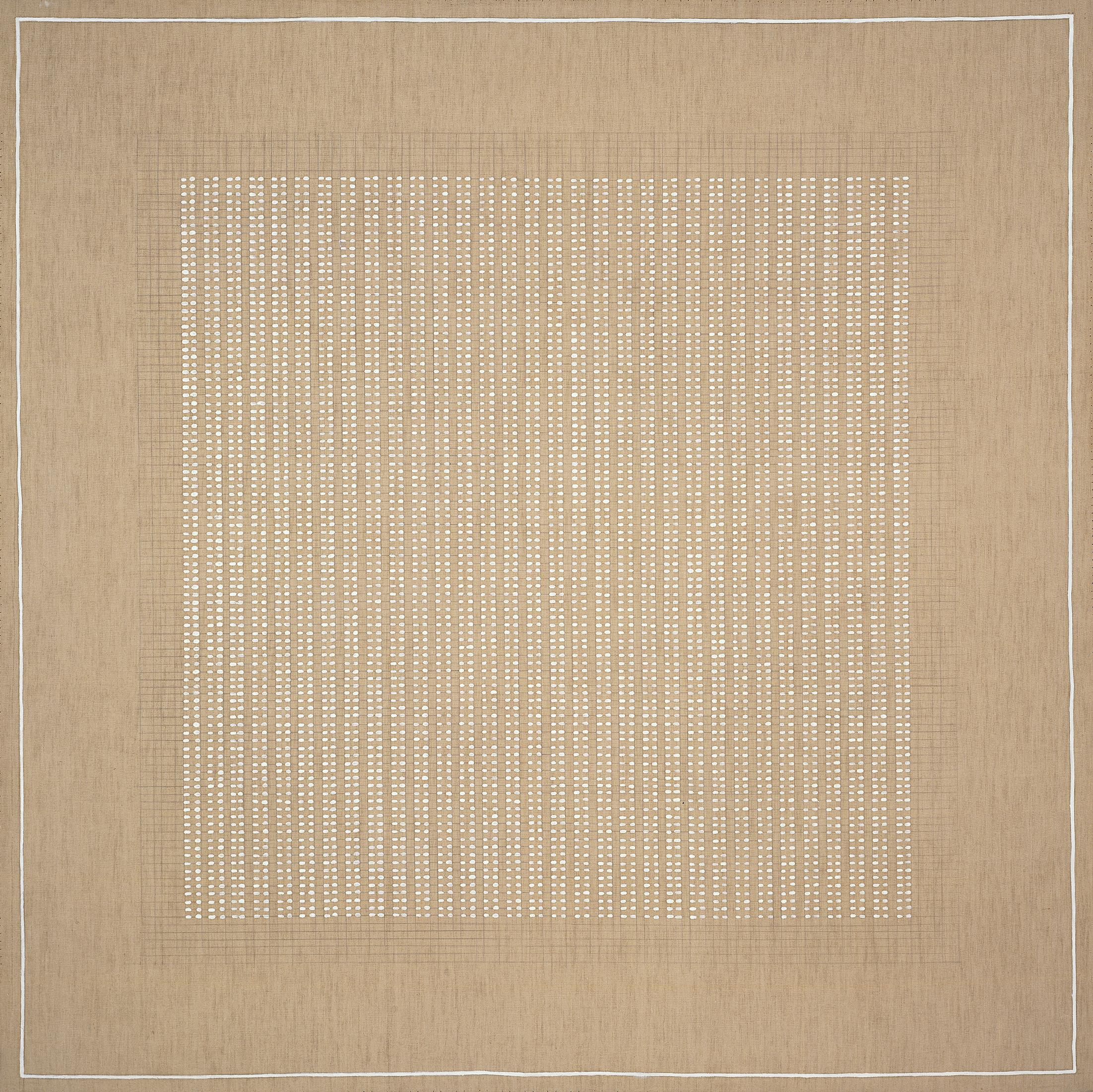 A grid is hand-drawn in pencil on a square, ochre-coloured canvas. Most of the grid, which mirrors the proportions of the canvas, is filled in with white dots.