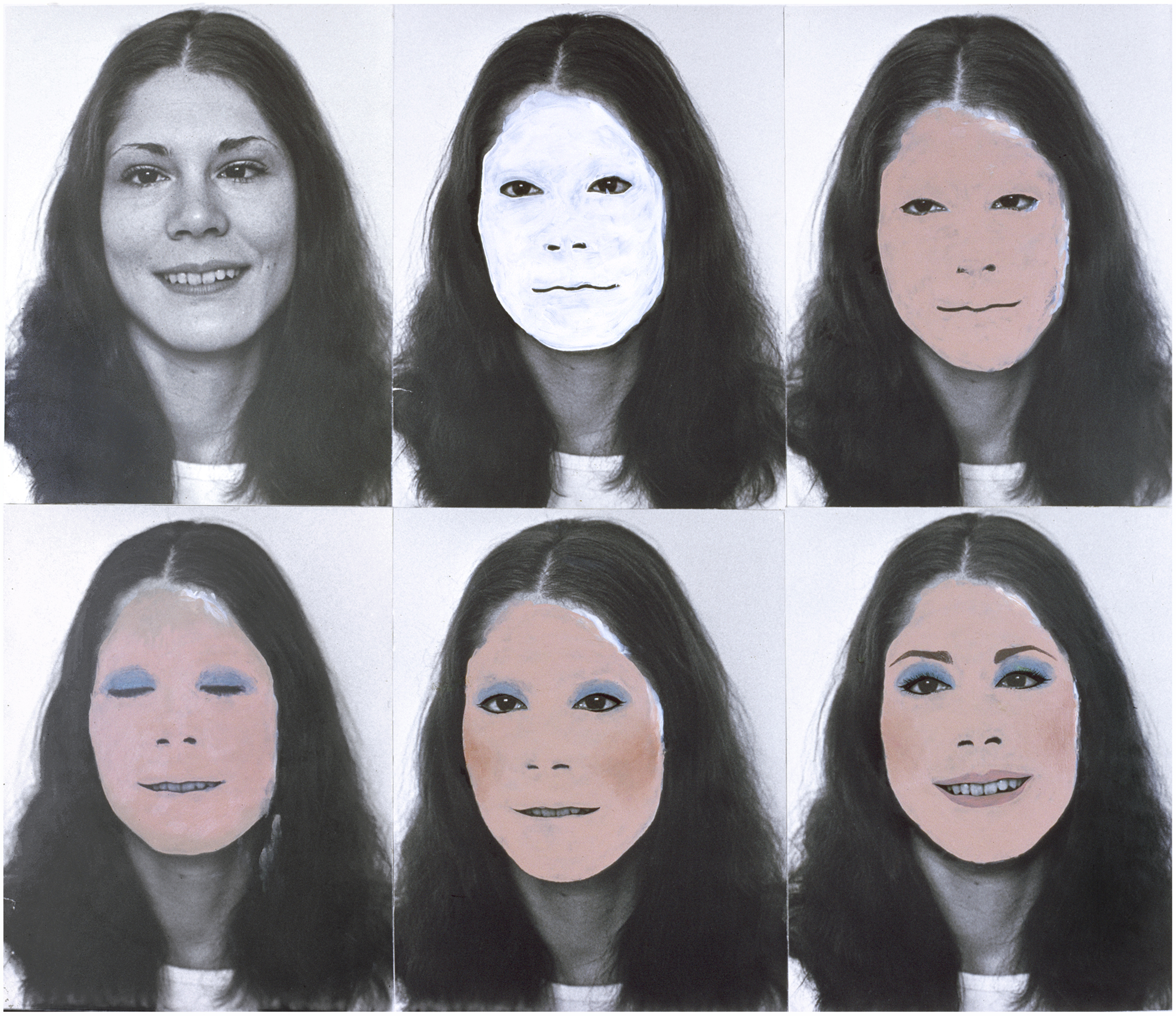 Six black-and-white portraits of a smiling long-haired woman are arranged in two rows. The first one remains untouched, while the others are progressively coloured with makeup: foundation, then eye shadow, blusher, eyebrow pencil and lipstick. The final face, at lower right, is completely made up.