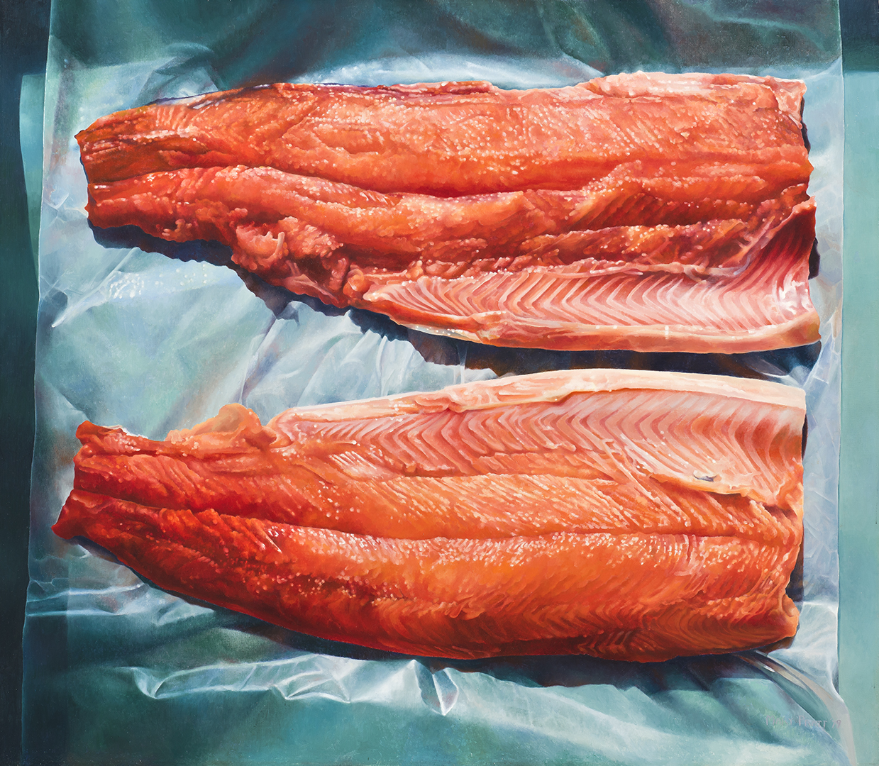 This painting shows two salmon fillets lying on sky-blue plastic wrap. The ribbed flesh of the fish is reproduced with an abundance of detail and gleams in vivid tones of red and orange.