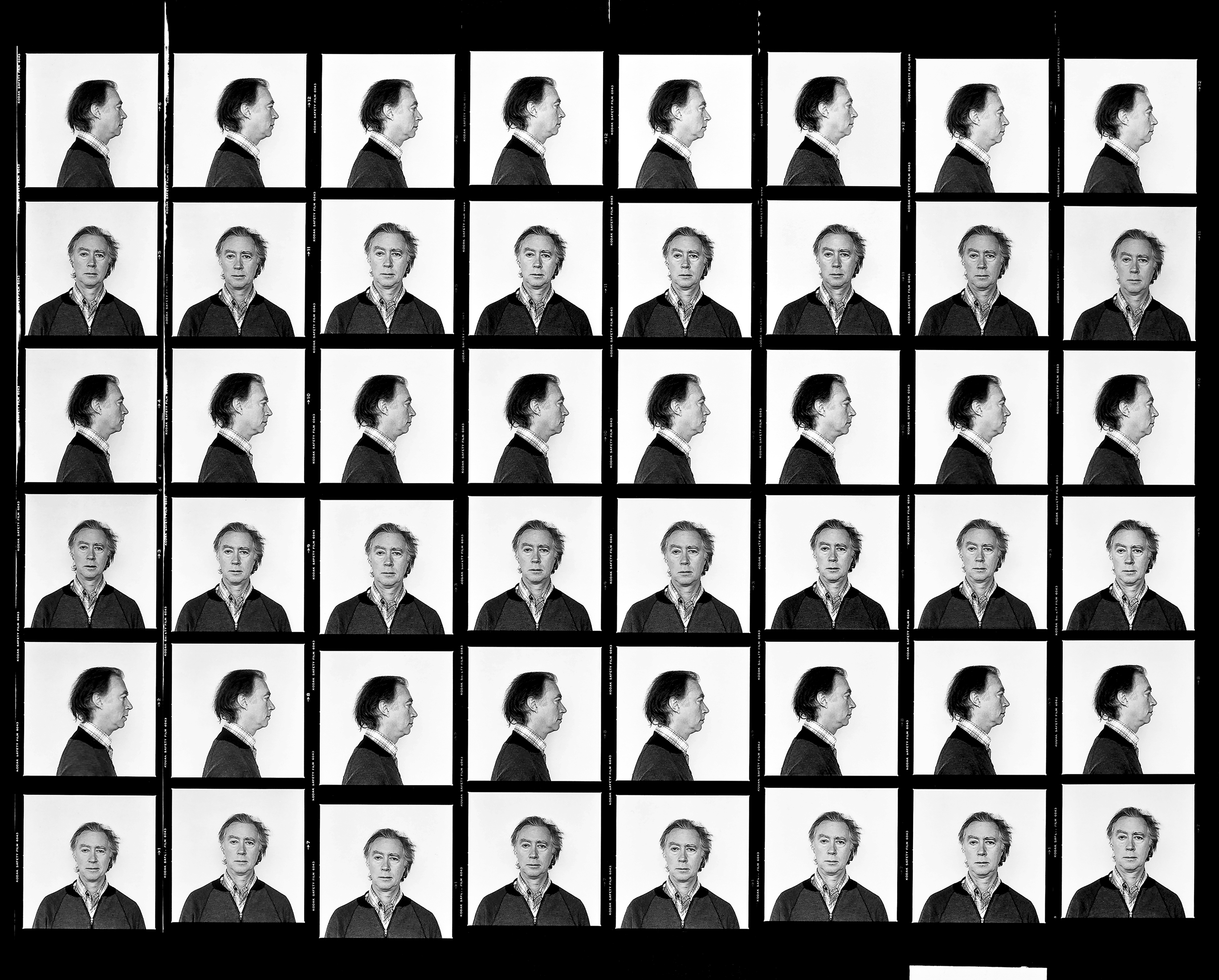 This work comprises forty-eight black-and-white photographs arranged in grid form. Each is a portrait of the same man against a white background. He is pictured alternately full-face and in profile.