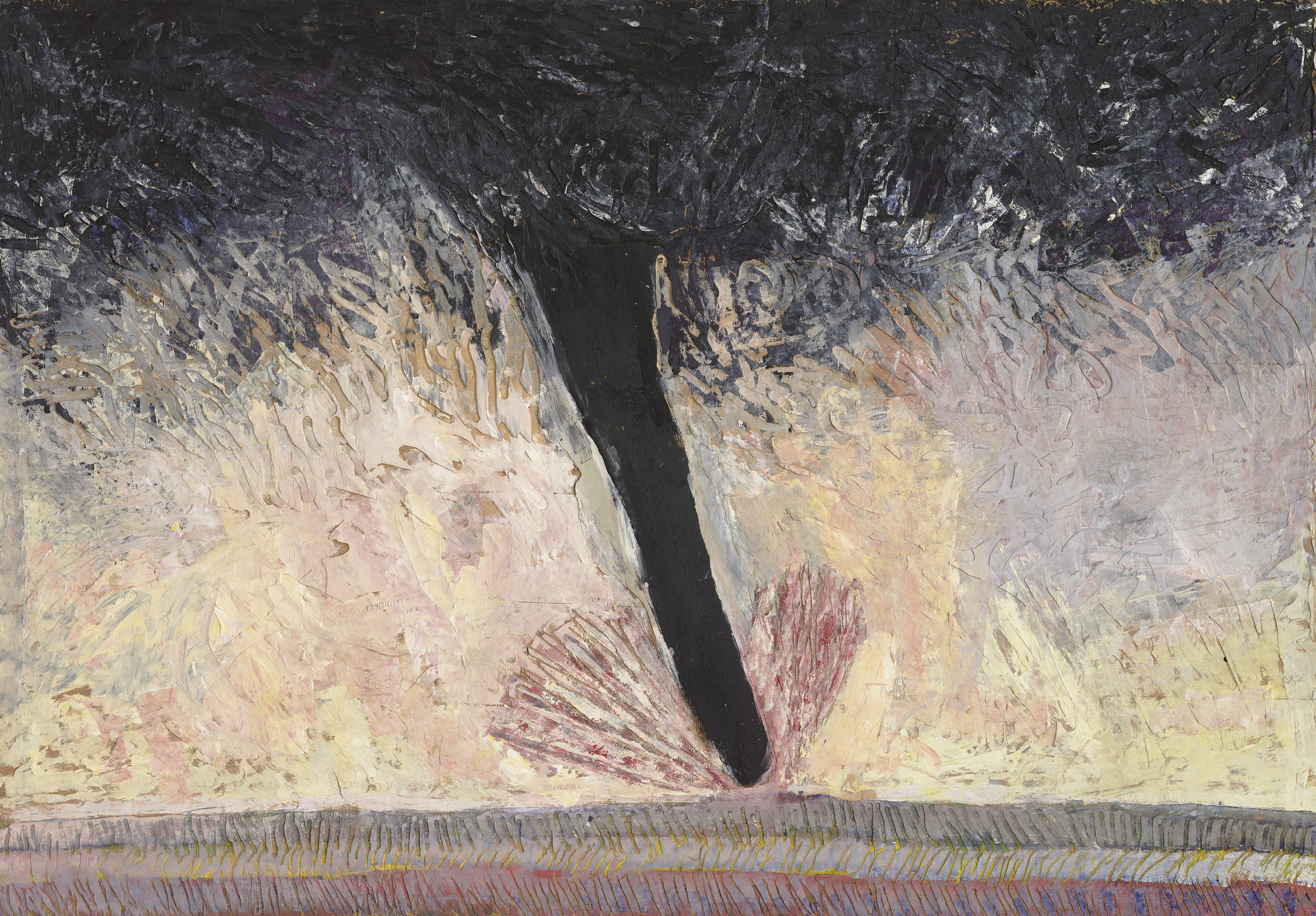 A tornado represented as a large oblique streak occupies the centre of the painting. The deep black of the funnel contrasts with the pale yellow, pink and mauve masses that compose the background. The plywood support is gouged with hatches and grooves.