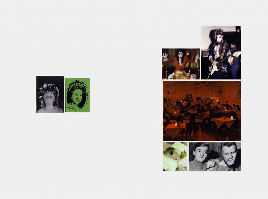 This two-panel mosaic includes seven photographs in plastic laminate. The images on the left are of the face of a woman with no eyes, nose or mouth and a representation of Queen Elizabeth II. Those on the right show a person practicing white magic, a guitar player, a crowd and a man with a bandaged face.