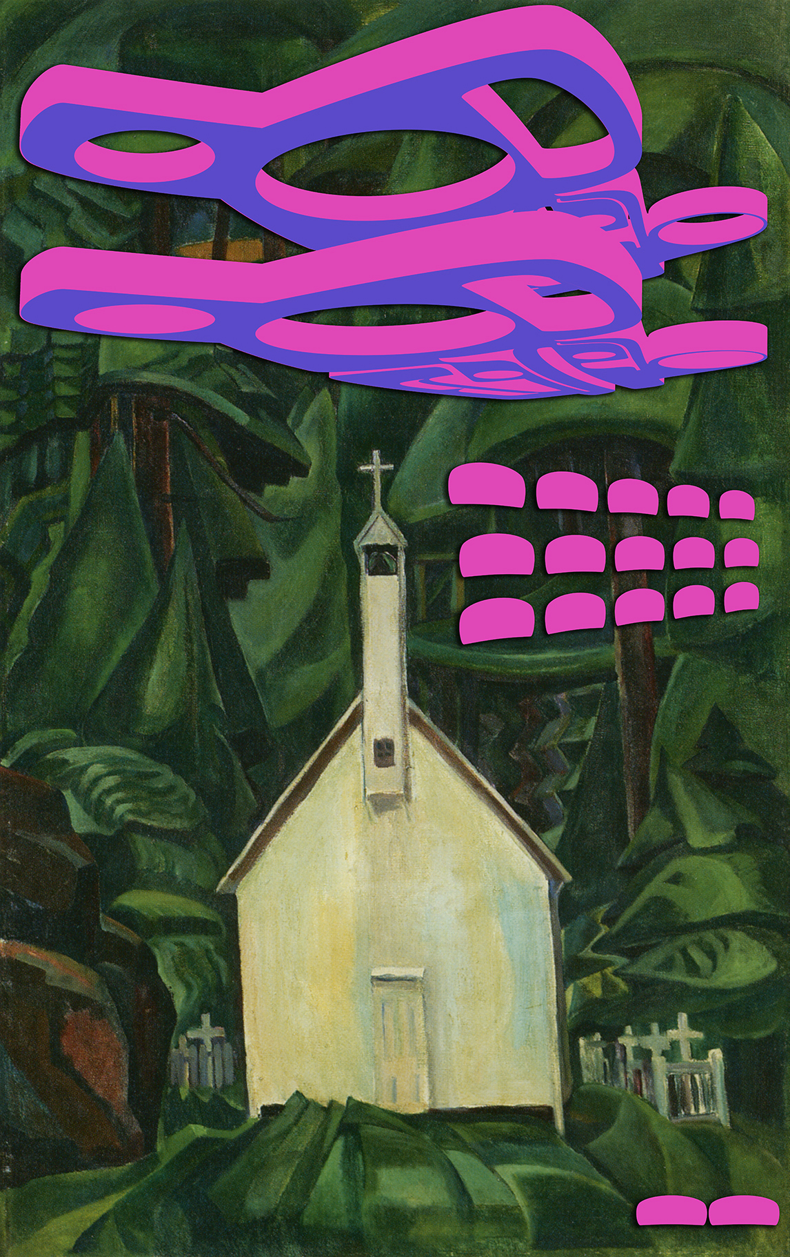 At the heart of a lush forest, a humble little church in shades of cream occupies the centre of the image. Pink and violet fluorescent forms float above the structure, with two small interventions placed in the lower right area.