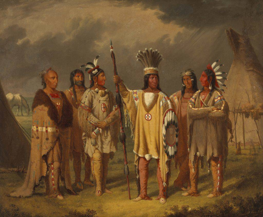 This painting depicts a group of six men dressed in buckskin and wearing feathered attributes. One holds a lance. Two teepees stand behind the group. A dark, threatening sky hangs over the scene.