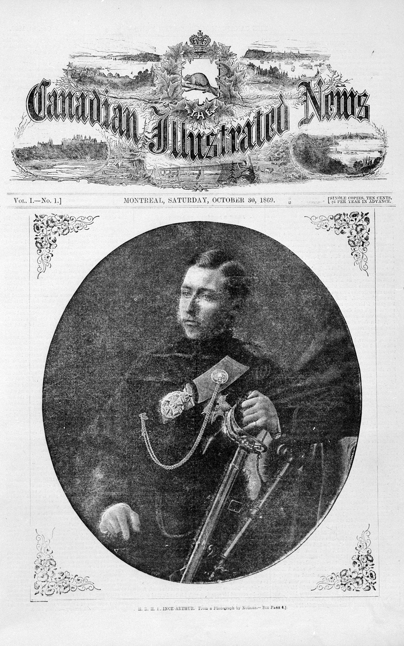 This Canadian Illustrated News cover is illustrated with a photographic portrait of Prince Arthur in military uniform, his left hand resting on the hilt of a sword. The oval image occupies the centre of the page.