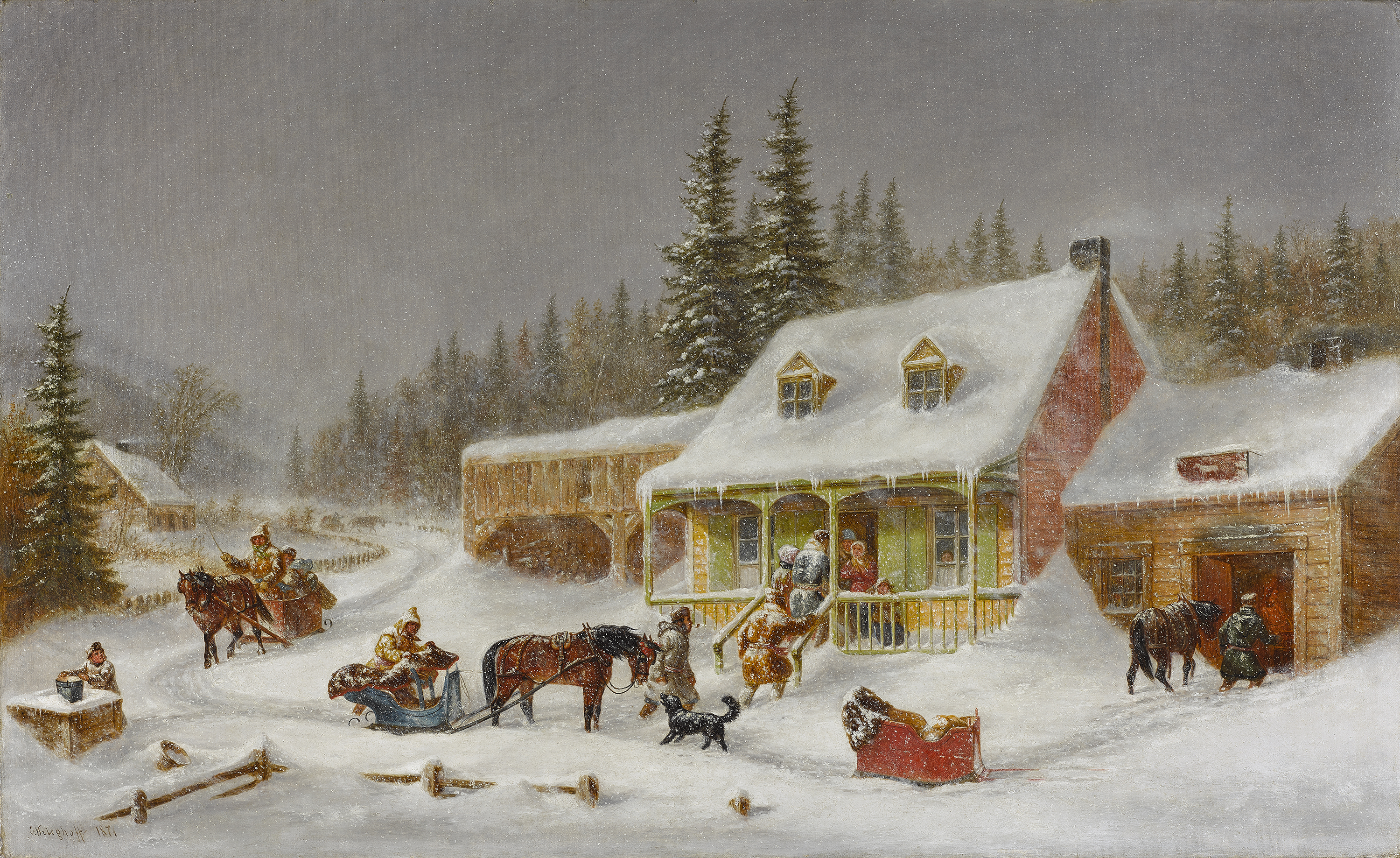 This genre scene represents a traditional French-Canadian house flanked by a blacksmith's shop. On the left, horse-drawn sleighs are arriving. Another is stopped in front of the house. A man is leading his horse into the forge, and several people are hurrying toward the house.