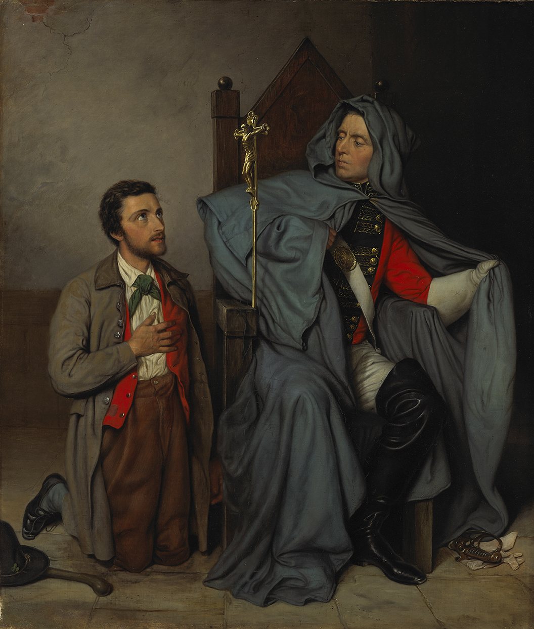 Two men are shown side by side. The one on the left is kneeling, with his right hand on his heart. The one on the right, wearing a blue cloak that hides his military uniform, is seated on a wooden bishop's chair, looking down at the kneeling man.