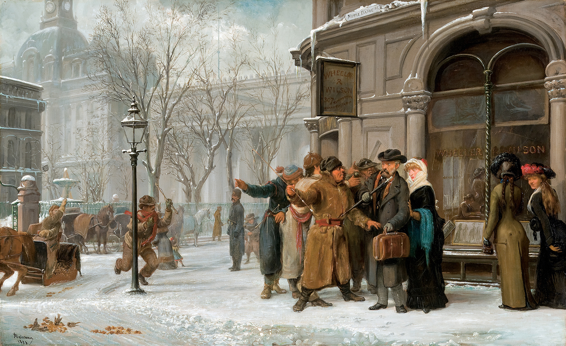 This painting depicts a winter scene set on the edge of a public square. In the foreground, three fur-clad men are gesturing in front of a man and a woman. Other figures are going about their business in the background.