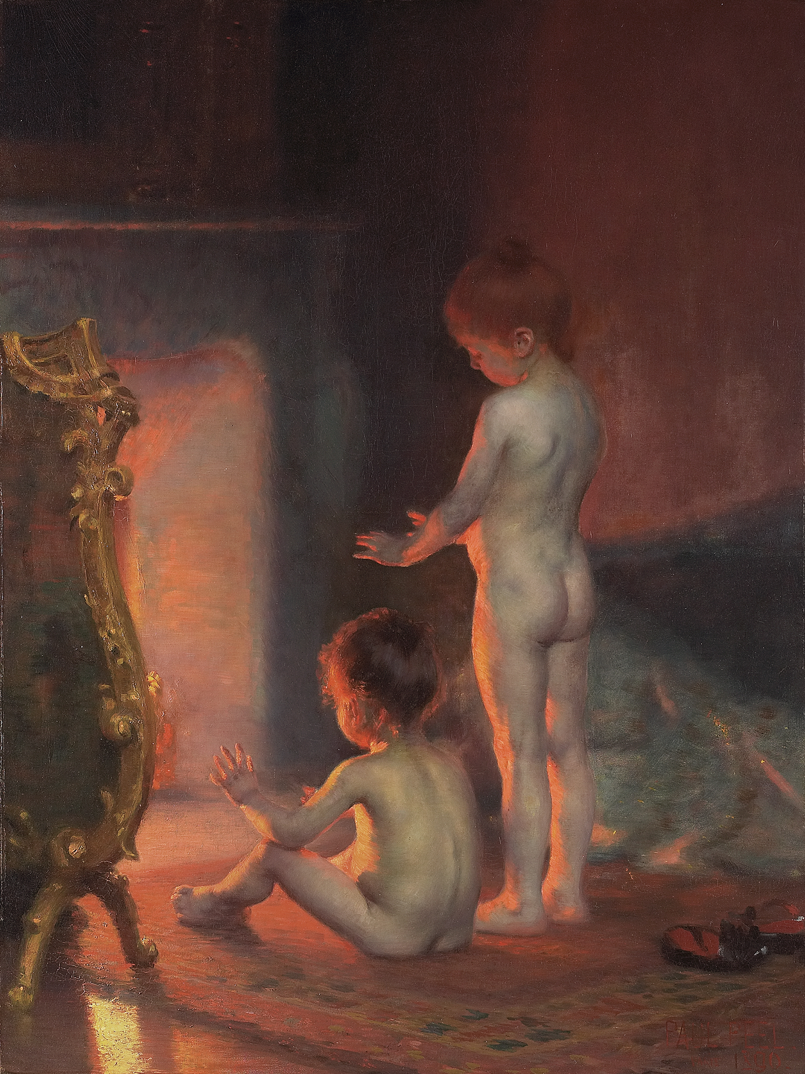 Two nude young children are warming themselves in front of a fireplace, arms stretched toward the heat. They are on an Oriental hearth rug, one sitting and the other standing. Warm tones radiate from the fire, colouring the children's skin.