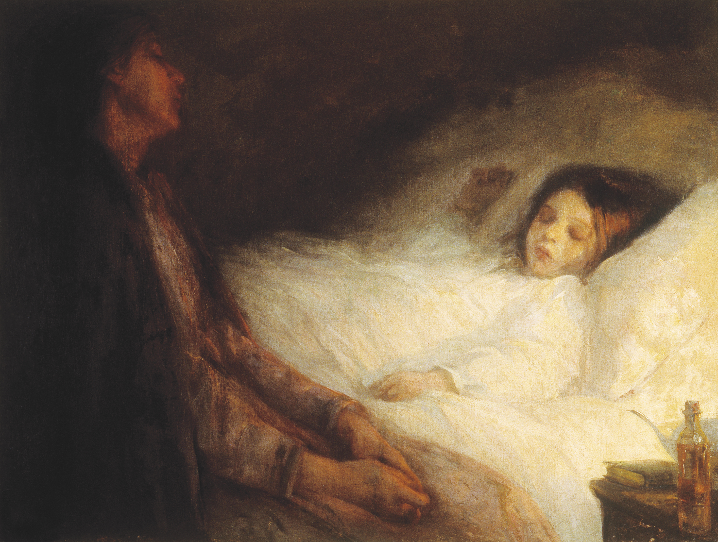 This painting shows a mother sitting on the edge of a bed, watching over her sleeping child. The mother is cast in shadow, while the child is bathed in white light. A book and a pharmacy bottle can be seen on the bedside table.