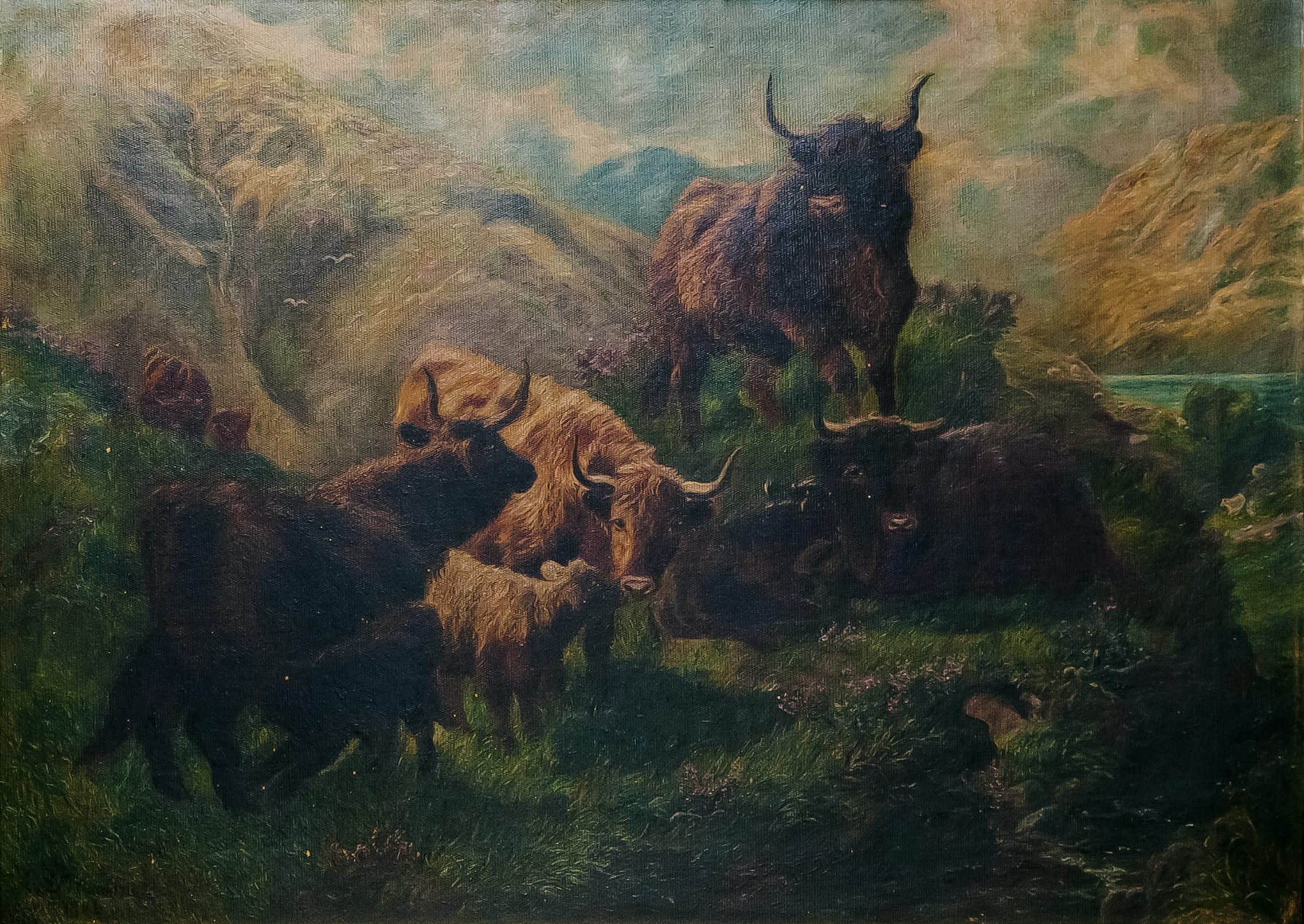This oil painting depicts cattle in the foreground of a mountainside landscape. The lush green grass contrasts with the cloudy blue sky and the turquoise water of the lake in the background.