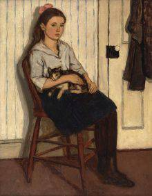 This painting shows a girl seated on a wooden chair, holding a cat in her lap. The chair is set against a wall, and there is a closed door at the right of the picture.