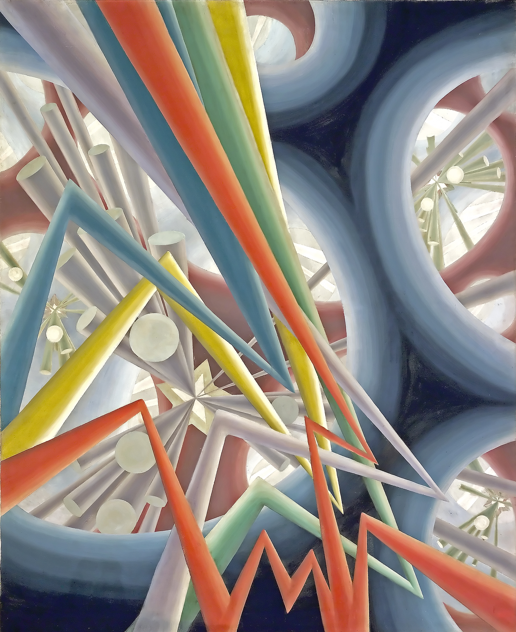 Tubes of bright colours shoot from the centre of the image, zigzagging in different directions and extending beyond the edges. In the background, futuristic conical forms emerge from the centre of large blue circles to heighten the impression of depth.
