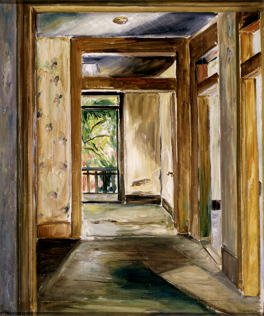 This painting portrays a succession of empty rooms. Some of the walls are depicted in sweeping brushstrokes, while others are coloured like patterned wallpaper. In the background, beyond an open doorway, a balcony and a tree are visible.