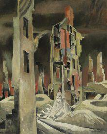 The frames of houses in ruins stand in a devastated landscape. The ravaged ground is marked by two large craters from exploding shells. The sky is black, orange and red.