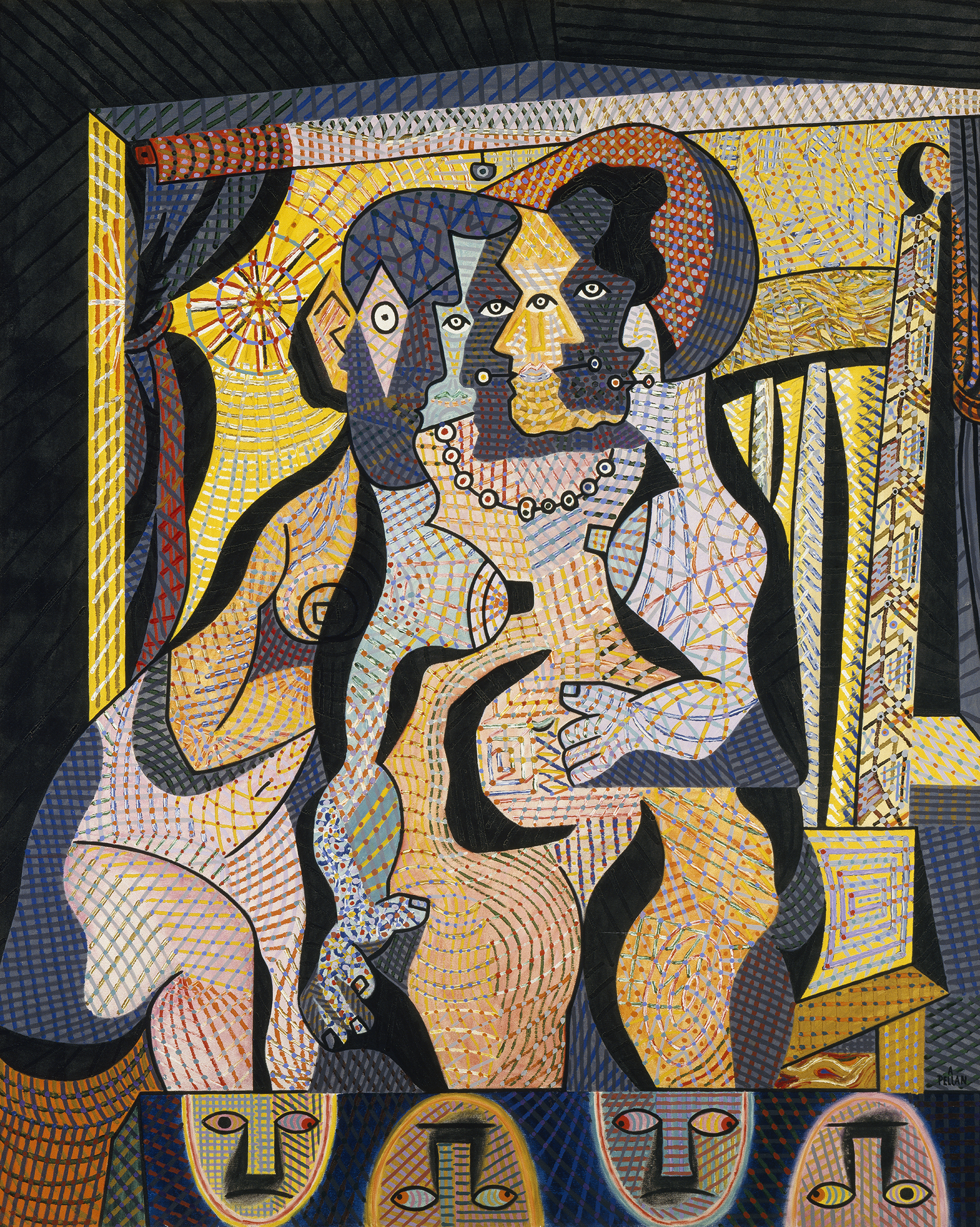 This painting shows many women outlines in conversation seated on chairs. Their tangled bodies are made up of various facets defined by small lines of yellow, pink, red, orange, blue, green, purple and black.