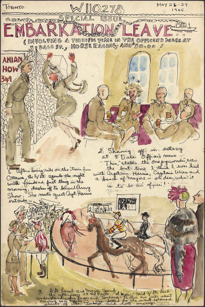 The page resembles a comic strip, with three illustrations accompanied by handwritten texts. The drawings show men and women in uniform chatting, having a drink and watching a horserace.