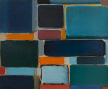 This abstract painting shows rectangular blocks of different sizes assembled together. The large forms are painted in dark, predominantly blue-green tones, while the small ones create a contrast in lighter shades of orange and pink.